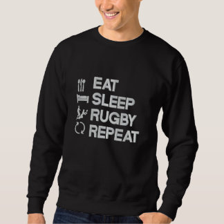 Eat Sleep Rugby Repeat rugby sport (for dark) Embroidered Sweatshirt