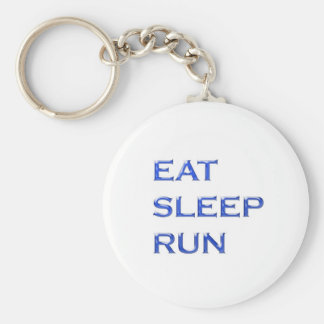 EAT SLEEP RUN NVN102 navinJOSHI wisdom script text Basic Round Button Key Ring