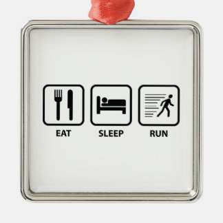 Eat Sleep Run Silver-Colored Square Decoration
