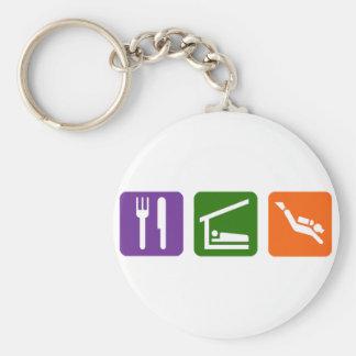 Eat Sleep Scuba Diving Basic Round Button Key Ring