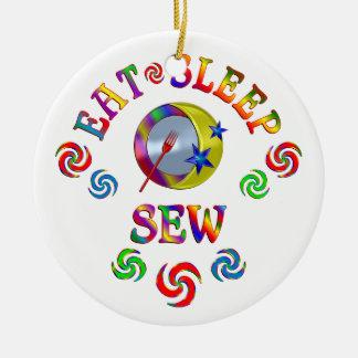 Eat Sleep Sew Ceramic Ornament