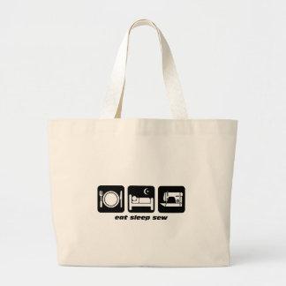 Eat sleep sew large tote bag