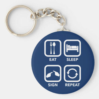Eat. Sleep. Sign. Repeat.   ASL keychain. Basic Round Button Key Ring