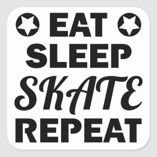 Eat Sleep Skate Repeat, Roller Derby Square Sticker