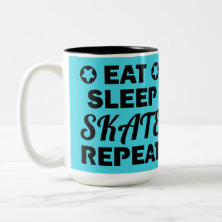 Eat Sleep Skate Repeat, Roller Derby Two-Tone Coffee Mug