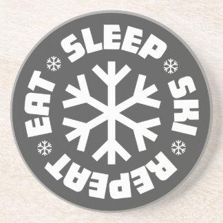 Eat Sleep Ski Repeat Coaster