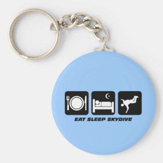 eat sleep skydive basic round button key ring