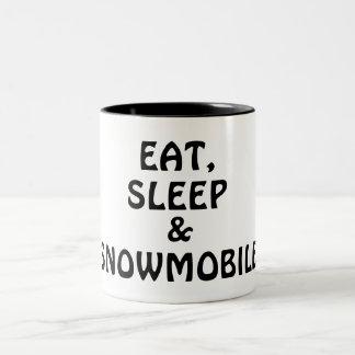 Eat, Sleep, Snowmobile Two-Tone Coffee Mug
