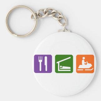 Eat Sleep Snowmobiling Key Ring