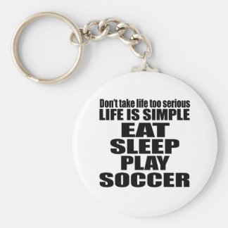EAT SLEEP SOCCER BASIC ROUND BUTTON KEY RING