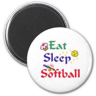 Eat Sleep Softball 6 Cm Round Magnet