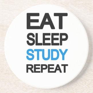 Eat sleep study repeat beverage coaster