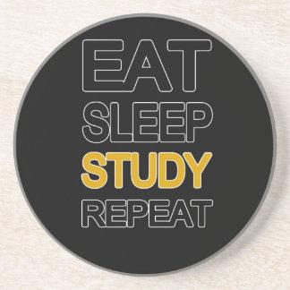 Eat sleep study repeat beverage coasters