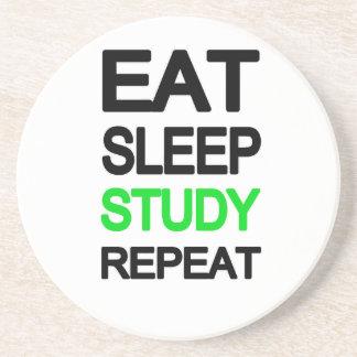 Eat sleep study repeat coasters