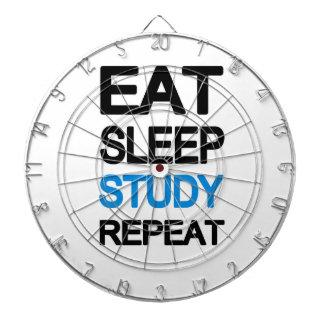 Eat sleep study repeat dartboard with darts