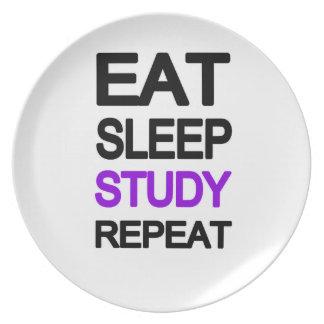 Eat sleep study repeat plate