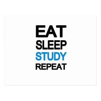 Eat sleep study repeat postcard