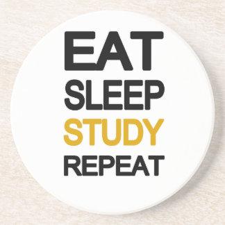 Eat sleep study repeat sandstone coaster