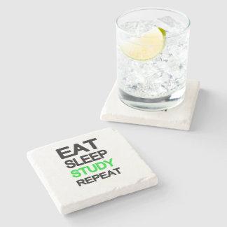 Eat sleep study repeat stone beverage coaster