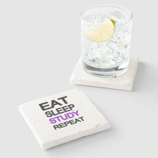 Eat sleep study repeat stone coaster