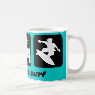 Eat sleep surf basic white mug