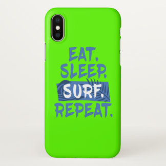 Eat. Sleep. SURF. Repeat. - iPhone X Glossy Case