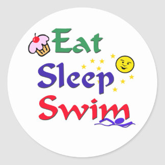 Eat Sleep Swim Classic Round Sticker