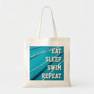 EAT SLEEP SWIM REPEAT swimming pool tote bags