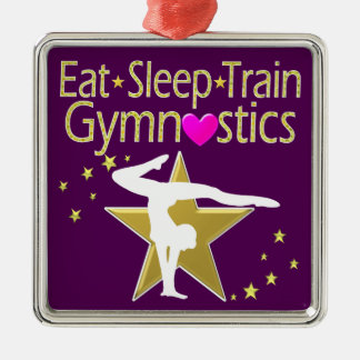 EAT SLEEP TRAIN GYMNASTICS DESIGN Silver-Colored SQUARE DECORATION