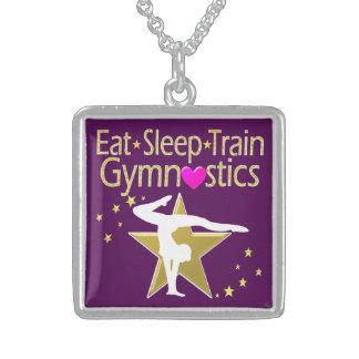 EAT SLEEP TRAIN GYMNASTICS DESIGN STERLING SILVER NECKLACE