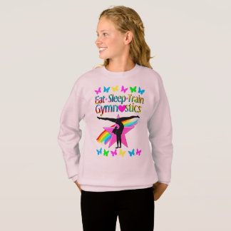 EAT SLEEP TRAIN GYMNASTICS RAINBOW DESIGN SWEATSHIRT