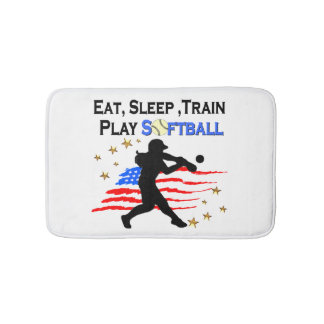 EAT, SLEEP, TRAIN PLAY SOFTBALL PATRIOTIC DESIGN BATH MATS