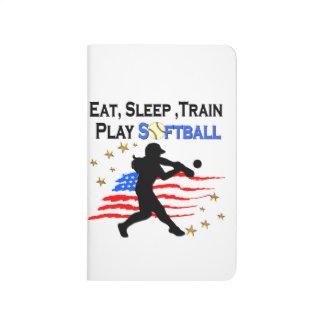 EAT, SLEEP, TRAIN PLAY SOFTBALL PATRIOTIC DESIGN JOURNAL