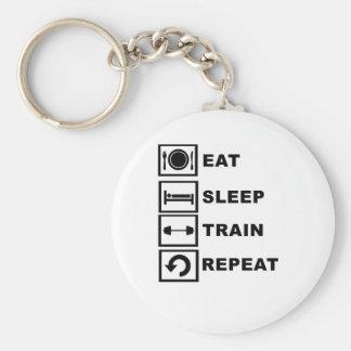 Eat, sleep, train, repeat. basic round button key ring