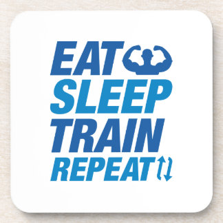 Eat Sleep Train Repeat Beverage Coasters