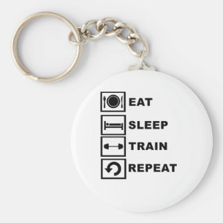 Eat, sleep, train, repeat. basic round button key ring