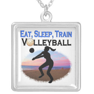 EAT, SLEEP, TRAIN VOLLEYBALL SILVER PLATED NECKLACE