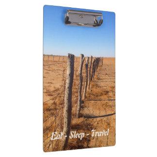 Eat Sleep Travel Australian desert fence clipboard