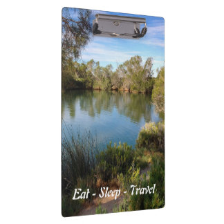 Eat Sleep Travel Australian hot springs clipboard