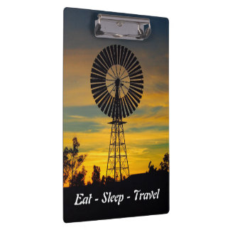 Eat Sleep Travel Australian windmill clipboard