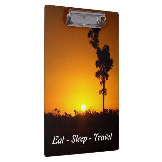 Eat Sleep Travel Outback sunset clipboard