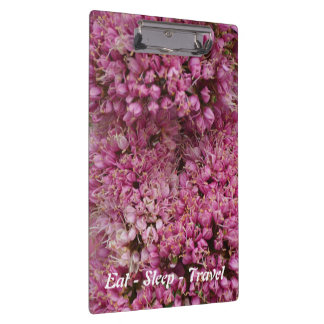Eat Sleep Travel pink floral clipboard