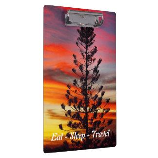 Eat Sleep Travel Queensland sunset clipboard
