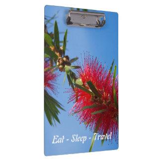 Eat Sleep Travel Red Bottlebrush clipboard