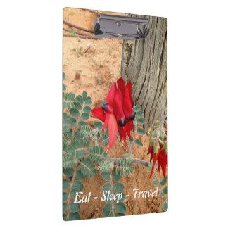Eat Sleep Travel Sturt's Desert Pea clipboard