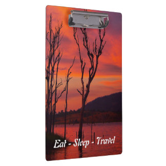 Eat Sleep Travel sunset at the lake clipboard