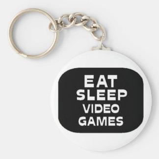 Eat Sleep Video Games Basic Round Button Key Ring