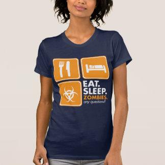 Eat Sleep Zombies - Orange and White T Shirt