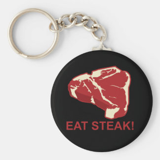 Eat STeak Basic Round Button Key Ring