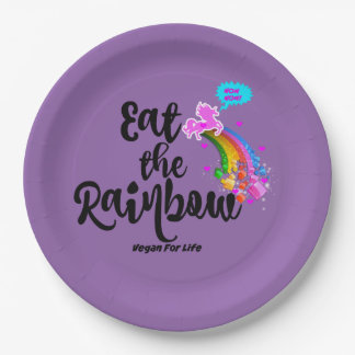 Eat the Rainbow- Vegan for life paper plates set 9 Inch Paper Plate